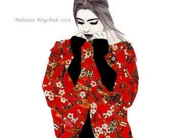 Fashion Illustration Print - Pencil & Origami Paper