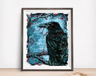 Crow Art - Office Decor -Raven Art - Dark Art - Morbid Art - Crow Wall Art - Crow Gift - Christmas Gift for Boyfriend - Gift for Him - Crow