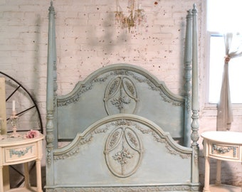 Painted Cottage Romantic French Bed Twin / Full  POSTER BED BD831