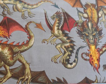 Tale of the Dragon -Bluegray Alexander Henry Fabric 1 Yard