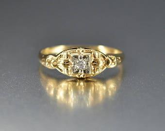 Art Deco Gold Diamond Engagement Ring, Diamond Ring, Gold Wedding Ring, Promise Anniversary Ring, Vintage Bridal Ring, Romantic Gifts