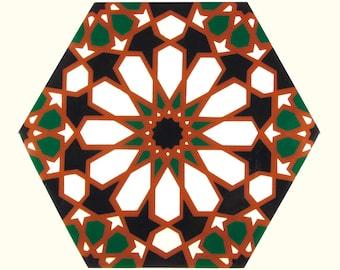 Hand Painted Moroccan Tiles - Terracotta Ceramic Accent Tiles - Decorative Tiles  - Backsplash Tiles - Kitchen Tiles - Ceramic Tiles