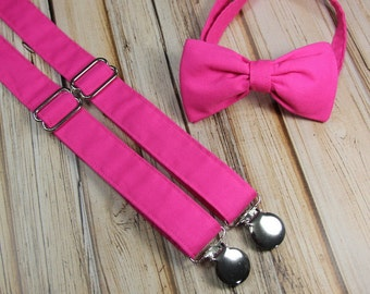 Dark Hot Pink Bow Tie and Suspender set  ( Men, boys, baby, toddler, infant ) outfit