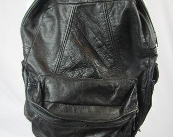 Vintage 80s / 90s Black LEATHER Backpack Rucksack Bag