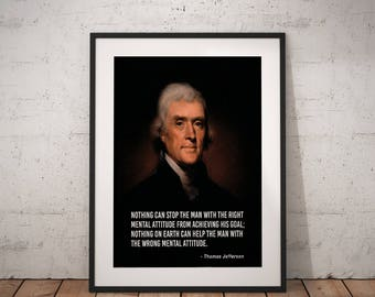 Thomas Jefferson, Quote poster, Typographic print, Inpirational Genius Quote, Sizes A4-A0