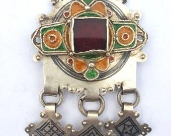Morocco – Berber pendant silver, enamel, niello and glass bead in cabochon for necklace