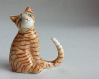 Vintage Cat Figurine Tabby Cat Figurine Bone China Cat