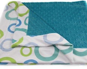 """Turquoise Baby Blanket - Minky Baby Blanket - Stroller Blanket - Nursery Blanket - 31"""" x 38""""  Baby Blanket"""