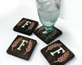 CLEARANCE Initial wood coasters, Monogrammed wood coasters, drinking glass coasters, initial with olive leaf, Spring rustic decor