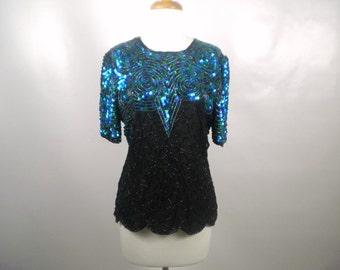 Vintage Royal Feelings Blue Green and Black Sequin Blouse Size Medium