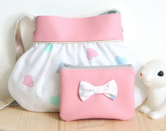 Pack Pastel pink Purse and Wallet for Little girl // Faux Leather // Vintage fabric Hearts Dots // Birthday Christmas Children Gift