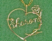 Heart Necklace Enhanced with Twining Rose, 12 Karat Gold - Free Chain