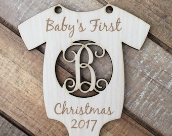 Monogram Baby's First Christmas Ornament - Onesie Newborn Baby Christmas Ornament - Personalized Newborn Laser Cut Wood Christmas Ornament