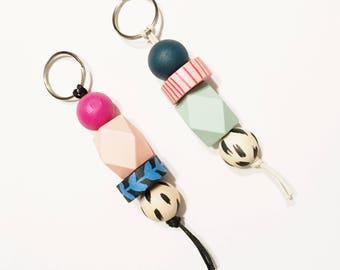 Be Bold keychain | Handpainted wood 4-bead keychain | Handmade to order