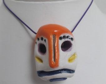 Sad face ceramic necklace