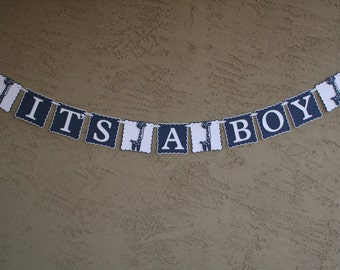 """Giraffe Baby Shower Banner , It""""s A Boy,  Navy Blue, White and Grey, New Baby, Party Banner, New Baby Celebration"""