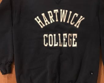 VTG 80s Hartwick college crew neck sweatshirt navy blue XXL