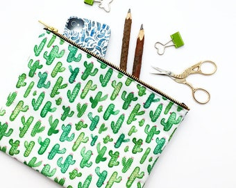 Large Pouch, Cactus, Make Up Bag, Pencil Case, Pouch, Cacti, Succulent, Cosmetic Bag, Essential Bag, Purse, Nature, Student Gift, Toiletries