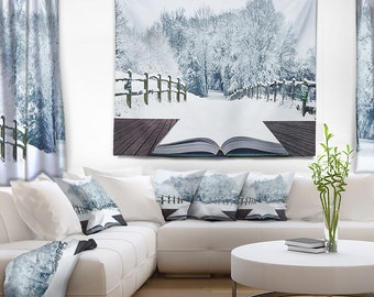 Designart Winter Wonderland Landscape Wall Tapestry, Wall Art Fit for Wall Hanging, Dorm, Home Decor