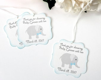 Elephant Baby shower favor tags, Boy baby shower thank you favor tag, Elephant baby shower gift tag, Thank you for showering baby with love