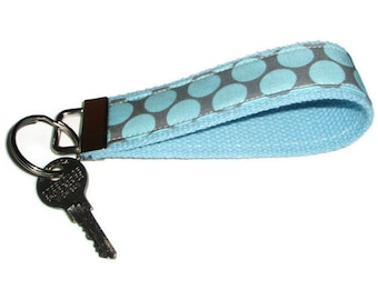 Wristlet Key Chain Fob Ring made with Amy Butler Dots Fabric