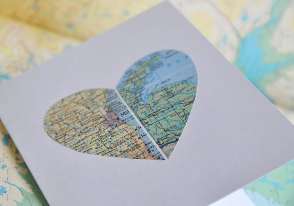 Long Distance Relationship Map Heart in Two Places Custom