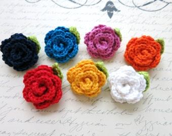 "Crochet Lapel Flower - Wedding Boutonniere - Men's Lapel Pin - Buttonhole - Crochet Rose - Brooch pin - Prom Accessories - Small Flower - 1"""