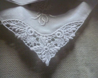Vintage 100% cotton embroidery and cut work white wedding Handkerchief.