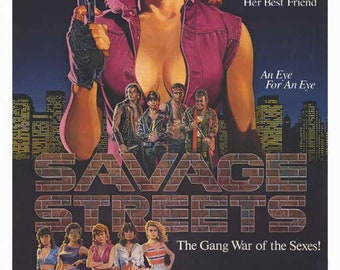 Savage Streets (1984) movie poster 11 x 17 Linda Blair Linnea Quigley action exploitation film John Vernon gangs vigilante crossbow revenge
