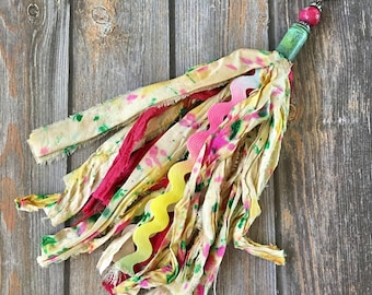 Sari Silk Tassle Tassel Detachable Rose Pink Yellow Green Colorful Boho OOAK Pink Gemstone Bullet Casing Mix and Match Keychain Backpack Pen