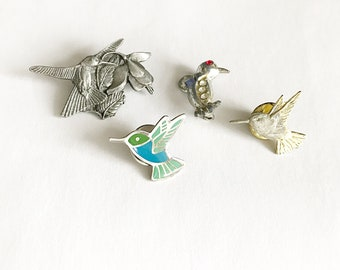 4 Beautiful Vintage Hummingbird Pins~ Birds And Blooms Limited Edition Brooch Included~ Hummingbird Pin Lot