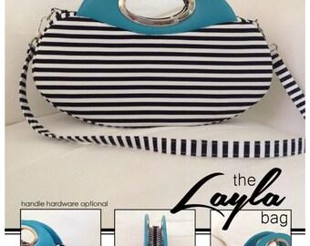 Sewing pattern: Digital, The Layla Bag, purse, handbag, clutch, shoulder strap, evening bag, handle hardware, pdf, download, small,