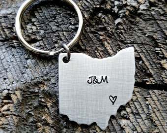 Personalized Initials Home State keychain ANY state hand stamped gift country continent Ohio Keychain home.