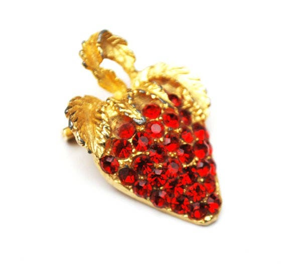 Red Strawberry Brooch red glass  Rhinestone  gold plated  fruit pin