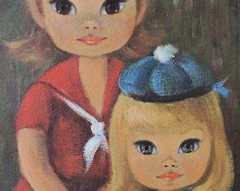 vintage 60s Big Eyed SAILOR GIRLS in white Wooden Frame, by Sherle