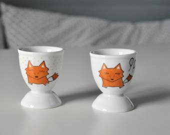 Cute Fox on an egg Cup, personalized with a name