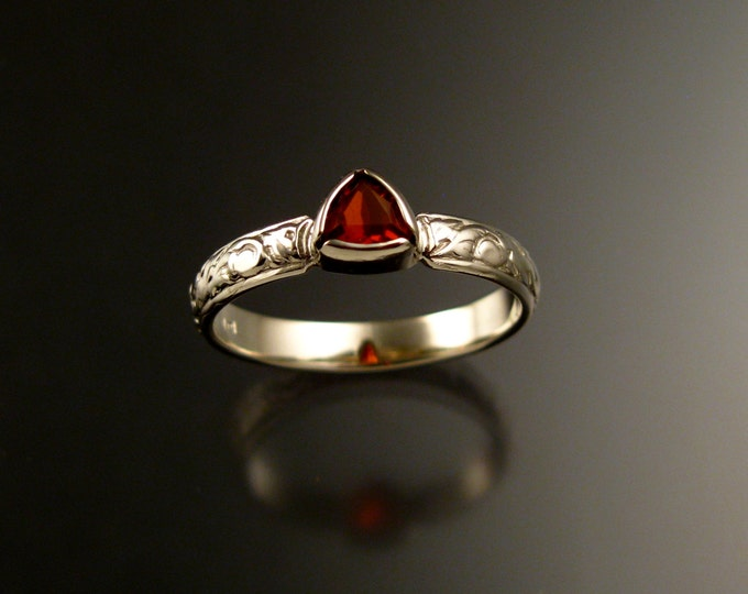 Fire Opal Triangle Wedding ring 14k White Gold Victorian bezel set stone engagement ring made to order in your size