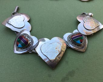 Repurposed Vintage Inlaid STERLING SILVER HEART Bracelet, Turquoise, Jade and Coral Unique Jewelry, Steam Punk, Victorian Style
