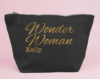 Personalised Wonder Woman Gift Bag / Large Zipped Make up / Toiletry Bag with Gold foiled Text