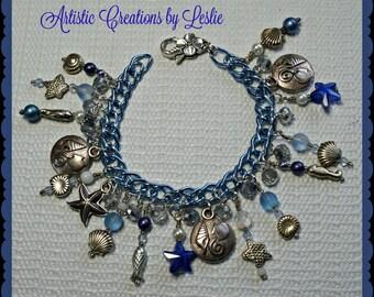 Beach Charm Bracelet in Blue