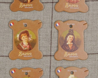 Sajou thread cards by six Vernon model - french costumes