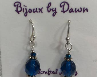Earrings - Royal Blue Glass beads om sterling silver earwires