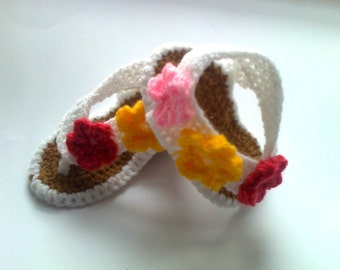 Baby sandals, baby flip-flop sandals, crochet barefoot sandals, newborn sandals