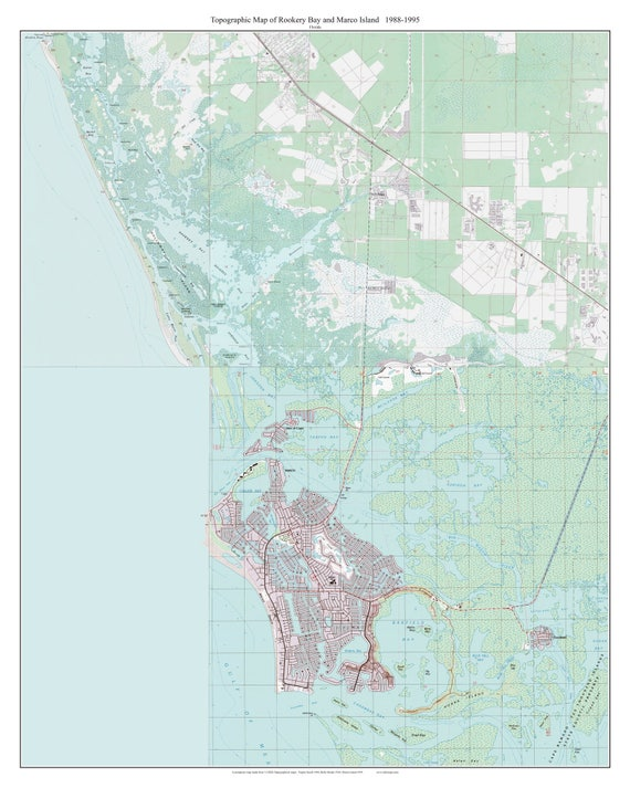 Map Of Marco Island Florida.Rookery Bay And Marco Island Florida 1988 Old Topo Map A