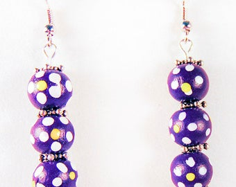 WOOD BEAD EARRINGS, wood beads, wood jewelry, purple beads, yellow beads, green beads, blue beads, pink beads, silver spacers - 1837