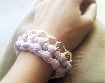 Chain/bracelet hand knitted necklace with pink powder strap/gift Idea