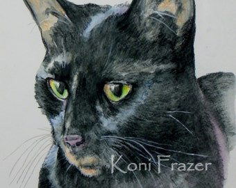 Black cat watercolor art, Dreamy Eyes