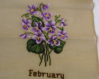Bucilla Purple Violet Febuary Pre-worked canvas  FREE Shipping USA