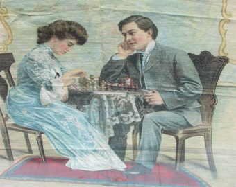 Antique 1905 CHROMOLITHOGRAPH On Fabric Schwab and Wolf NY Playing CHESS Art Nouveau