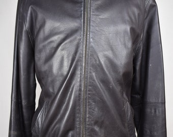 Brooks Brothers Solid Dark Brown Zip Up Basic Leather Jacket Men's Size 46 (2XL)